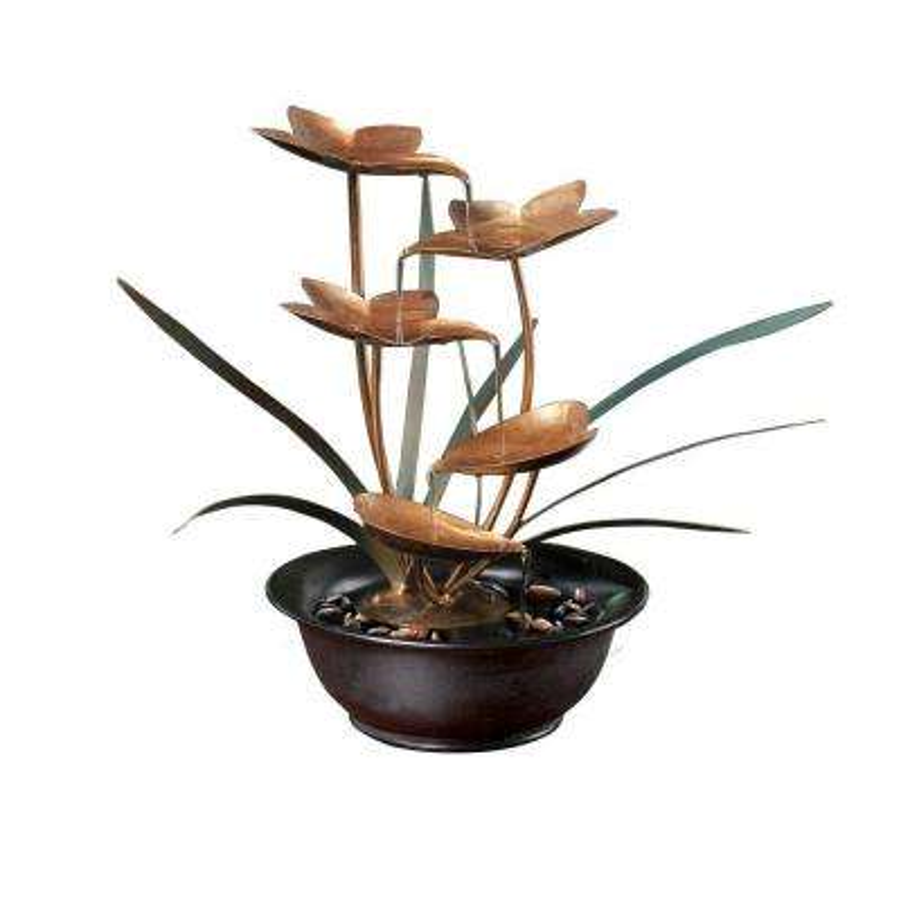 13 in. Metal Tiering Leaf Tabletop Fountain