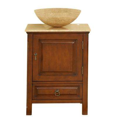 22 in. W x 20 in. D Vanity in American Walnut with Stone Vanity Top in Travertine with Vessel Stone Basin