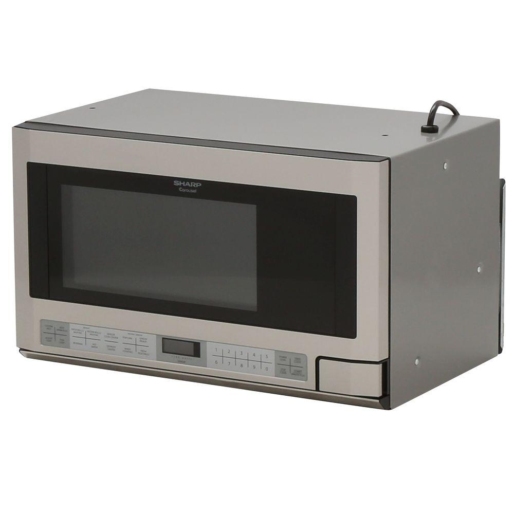 Sharp 1 5 Cu Ft Over The Counter Microwave In Stainless Steel With Sensor Cooking