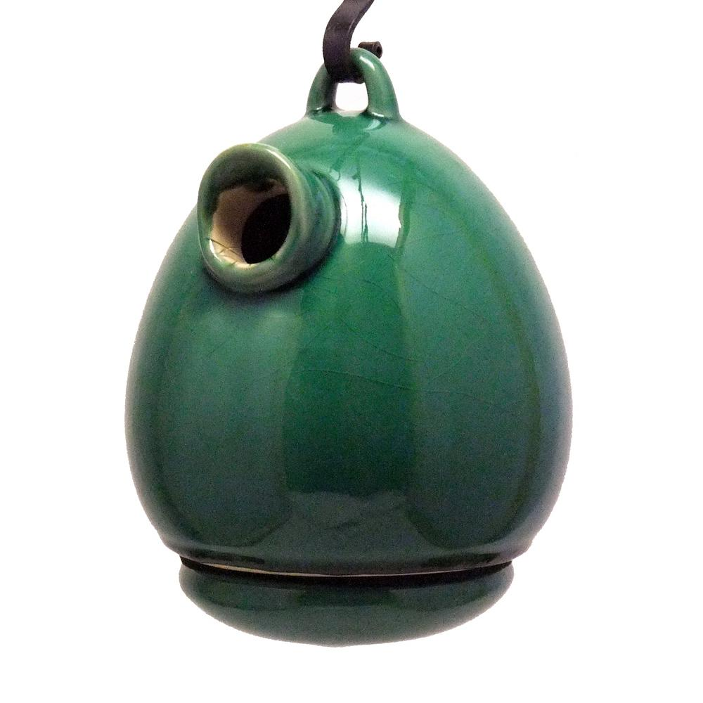 BYER 9 in. Green Ceramic Egg Shape Bird House Meadow