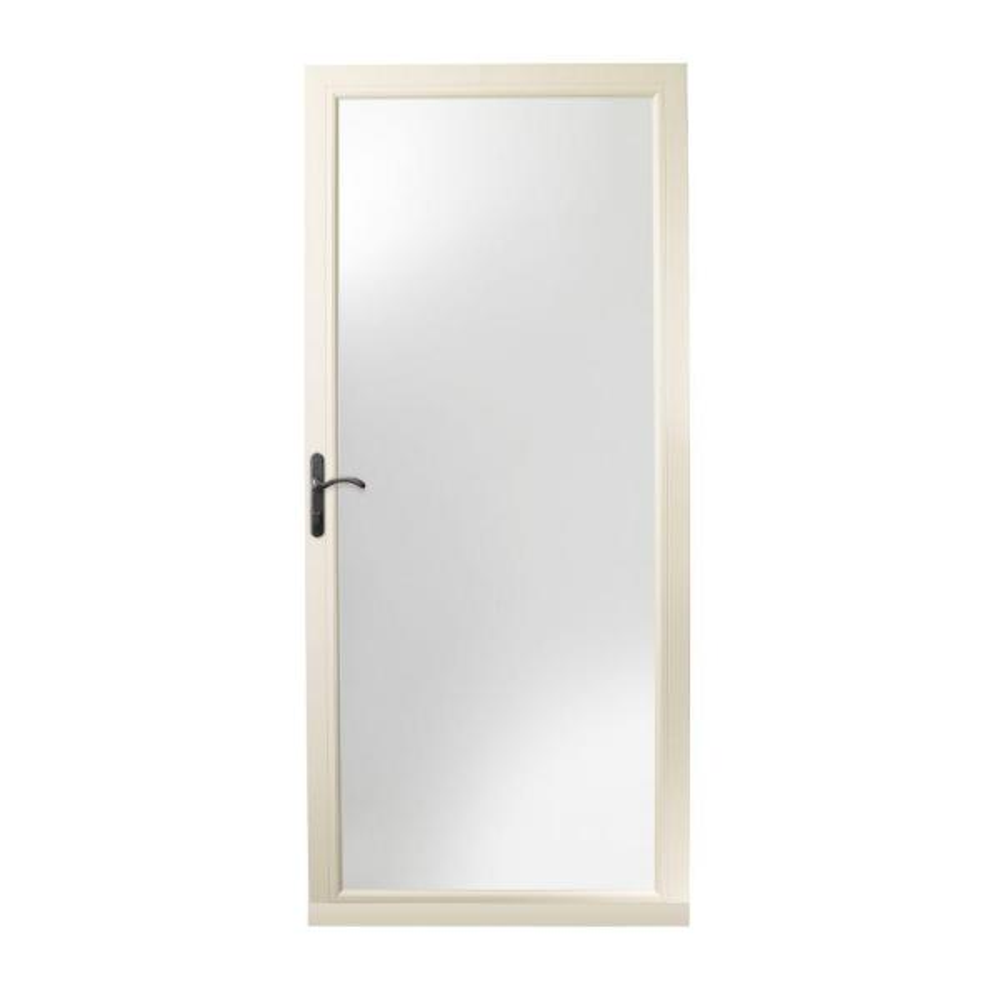 36 in. x 80 in. 3000 Series Almond Left-Hand Fullview Easy Install Aluminum Storm Door with Oil-Rubbed Bronze Hardware