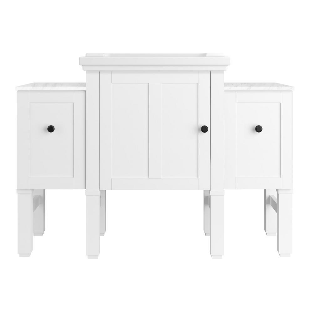 KOHLER Chambly 48 in. W Vanity in Linen White with Ceramic Vanity Top in White with White Basin (4-piece)