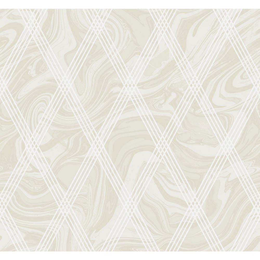 Marble Metallic Gold and White Diamond Geometric Wallpaper