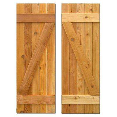 15 in. x 60 in. Board-N-Batten Baton Z Shutters Pair Natural Cedar