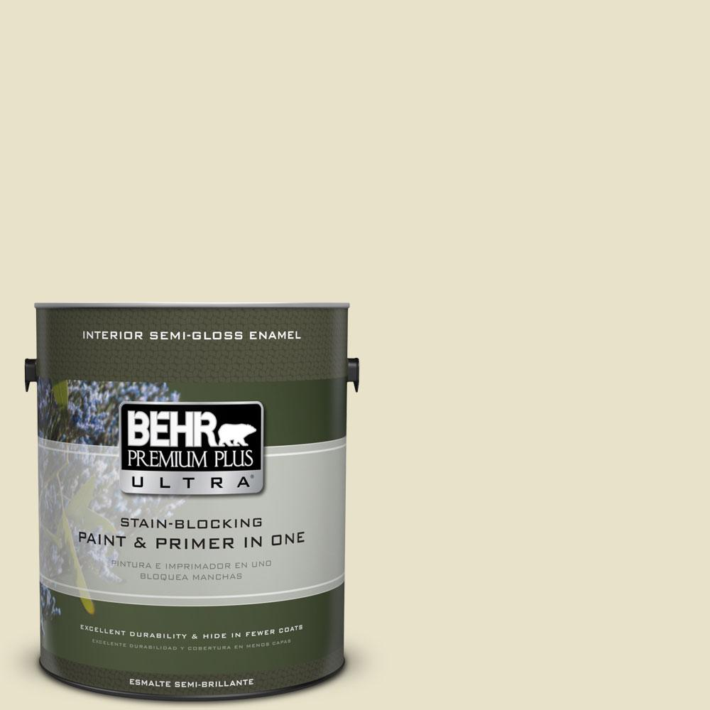 BEHR Premium Plus Ultra 1 gal. #PPU9-14 White Cliffs Semi-Gloss Enamel Interior Paint and Primer in One