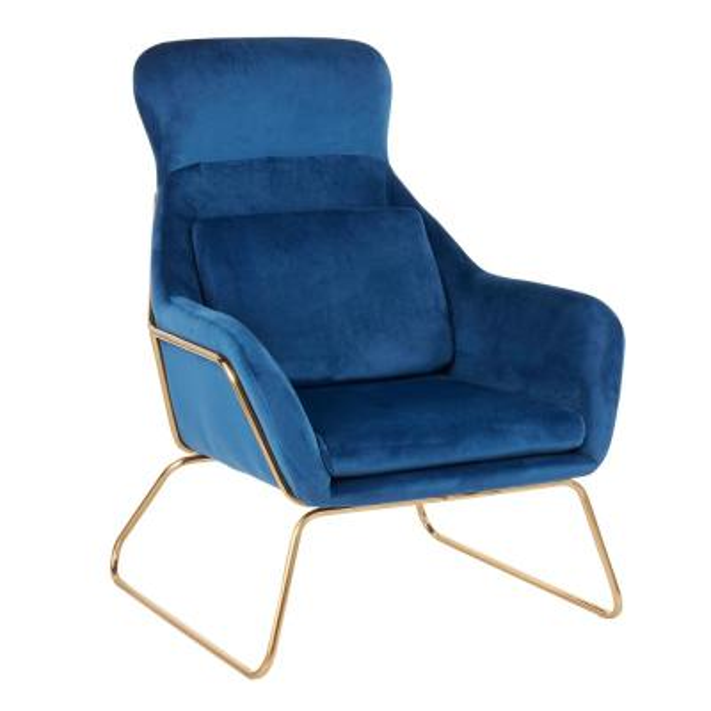 Penelope Gold and Blue Velvet Lounge Chair