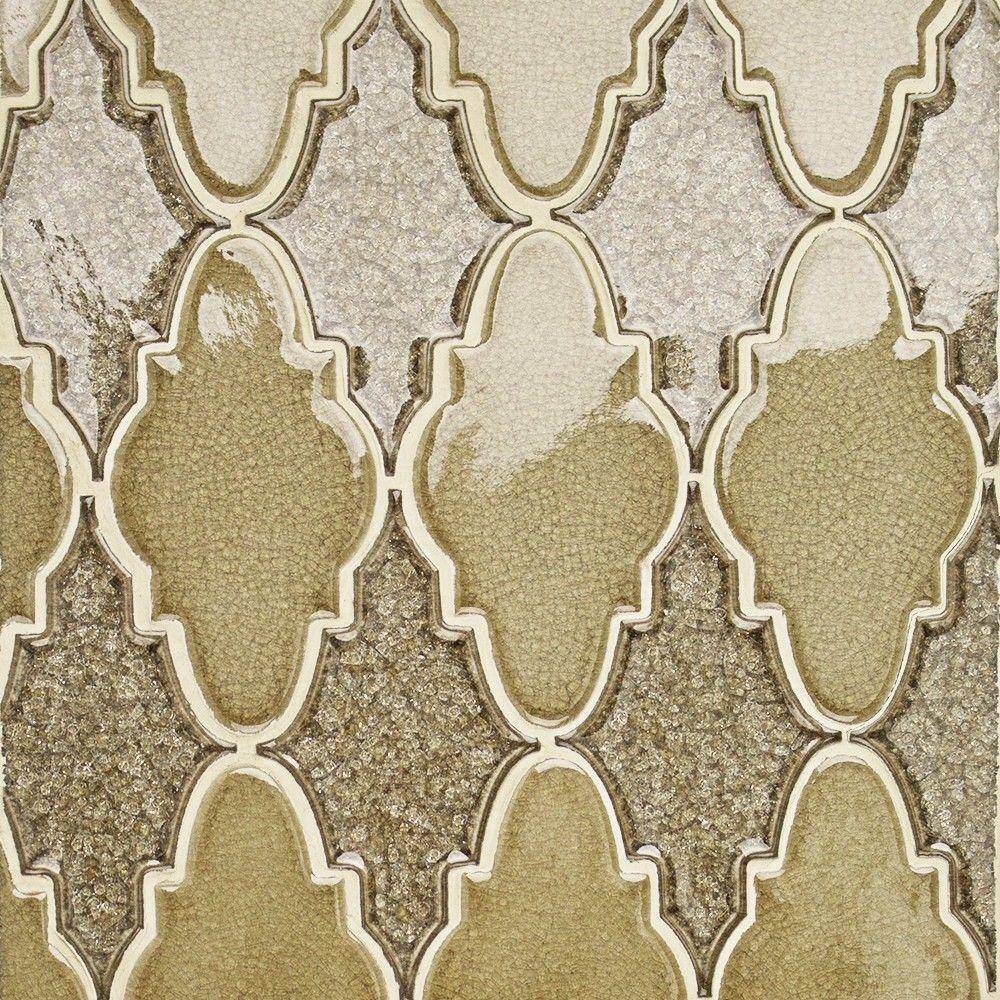 Splashback Tile Roman Selection Iced Gold Arabesque Glass Mosaic ...