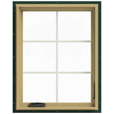 28 in. x 36 in. W-2500 Series Green Painted Clad Wood Right-Handed Casement Window with Colonial Grids/Grilles