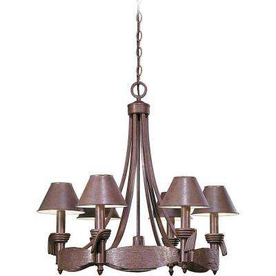 Toltec 6-Light Prairie Rock and Gold Chandelier