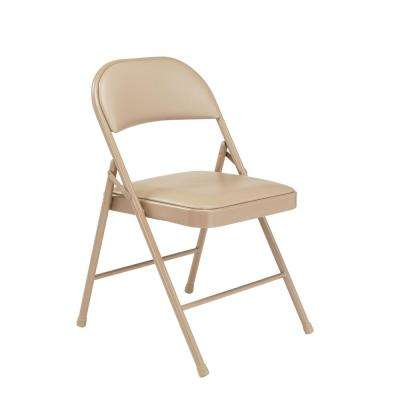 Beige Vinyl Padded Seat Stackable Folding Chair (Set of 4)