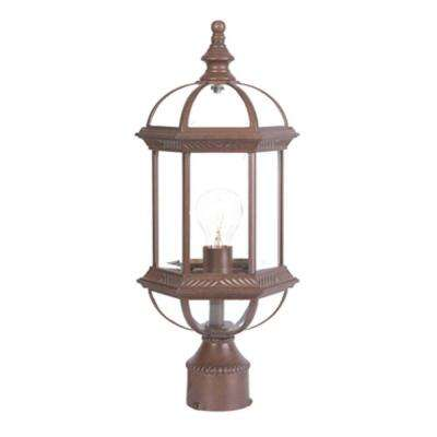 Dover 1-Light Burled Walnut Outdoor Post-Mount Light Fixture