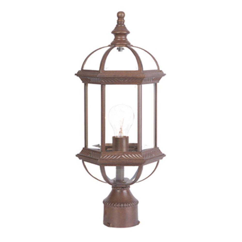 Dover 1-Light Burled Walnut Outdoor Post-Mount Light Fixture