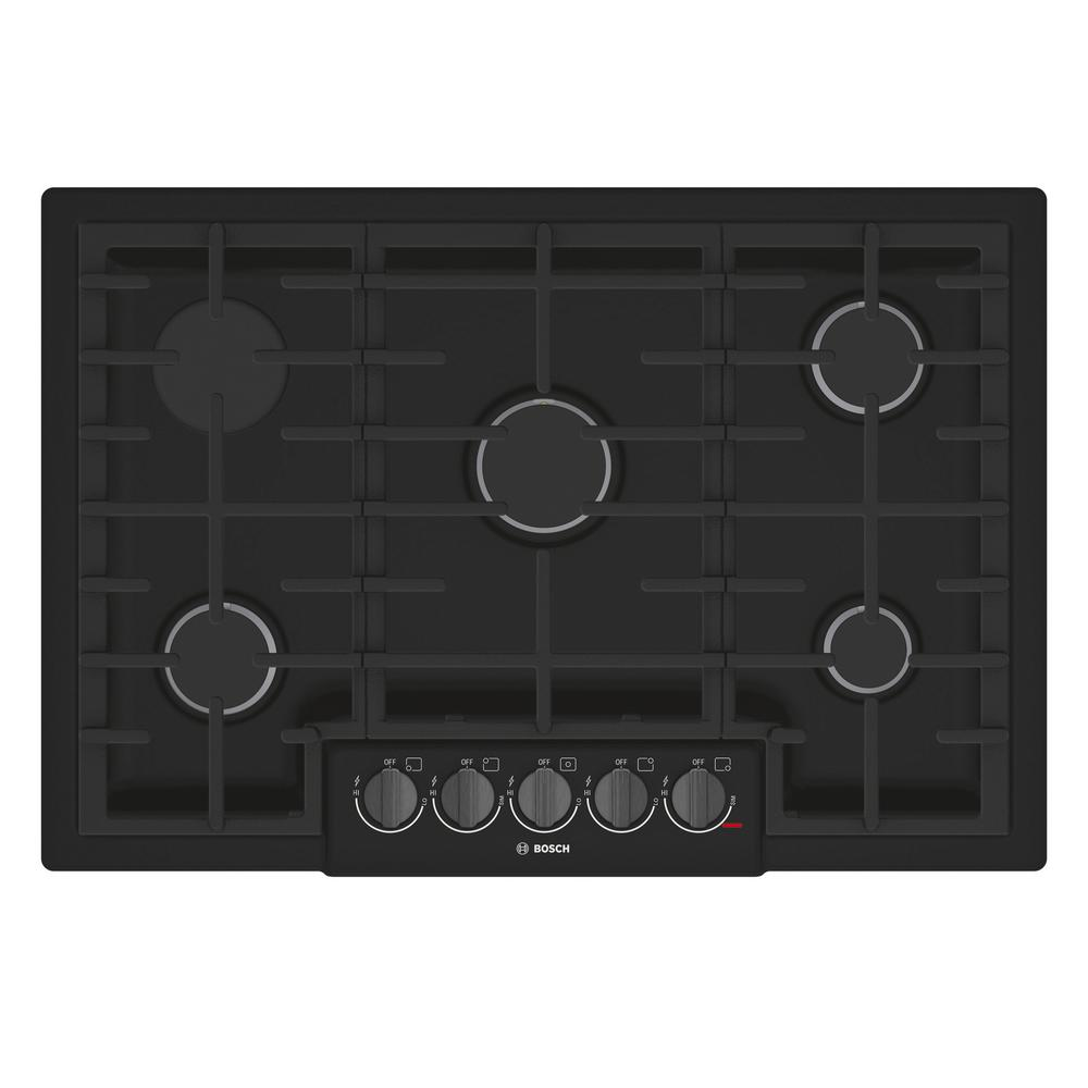 800 Series 30 in. Gas Cooktop in Black Stainless Steel with