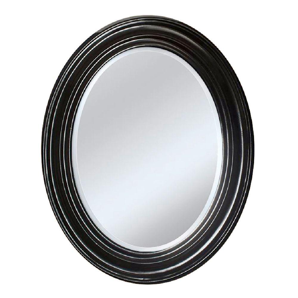 Deco Mirror 24 in. x 31 in. Sonoma Oval Mirror in Espresso