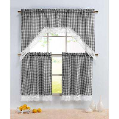 Semi-Opaque Checkered Black Embroidered 3-Piece Kitchen Curtain Tier and Valance Set