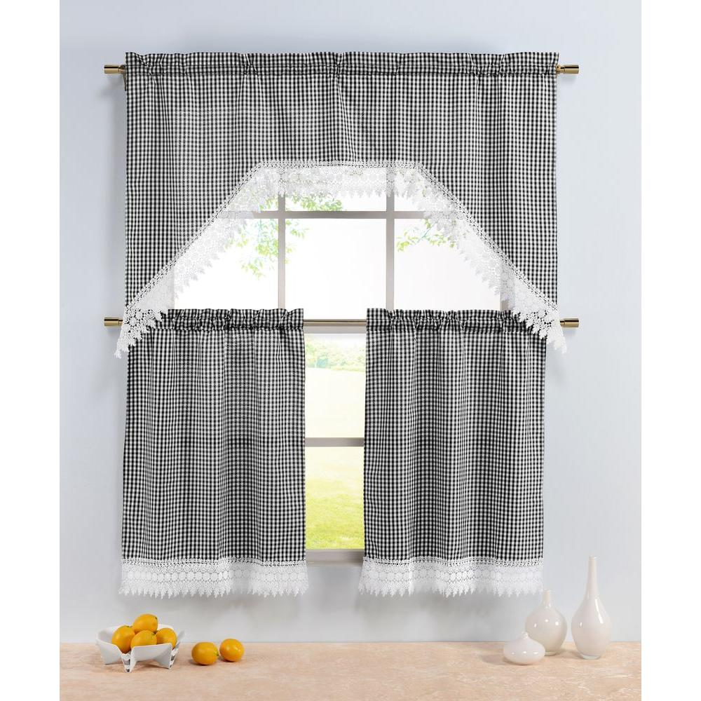 Window Elements Semi-Opaque Checkered Black Embroidered 3-Piece Kitchen  Curtain Tier and Valance Set