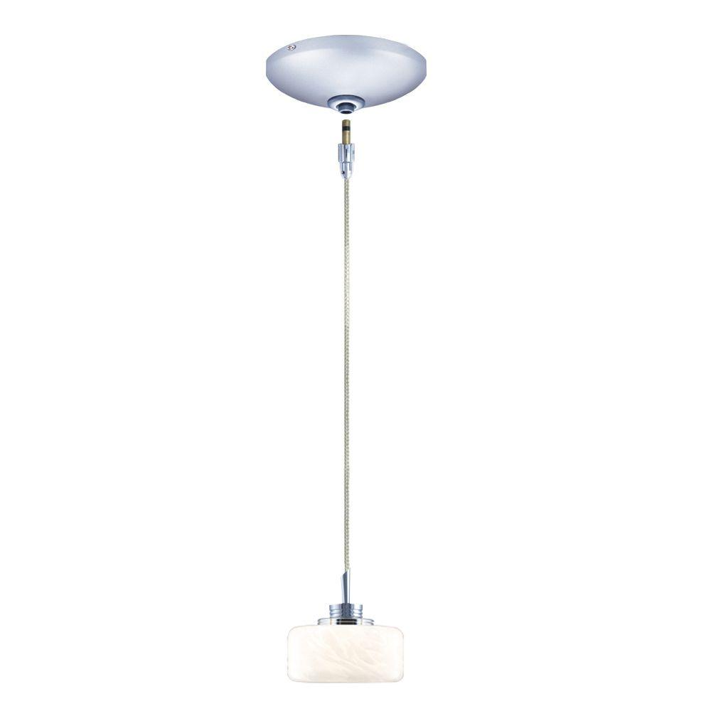 null Low Voltage Quick Adapt 100 in. x 4 in. White Frit Pendant and Chrome Canopy Kit-DISCONTINUED