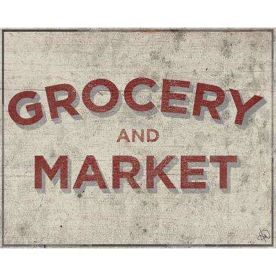 "16 in. x 20 in. ""Grocery and Market Country Store Sign"" Barnwood Framed Wall Art Print"