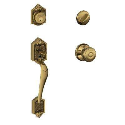 Parthenon Antique Brass Single Cylinder Deadbolt with Georgian Knob Door Handleset