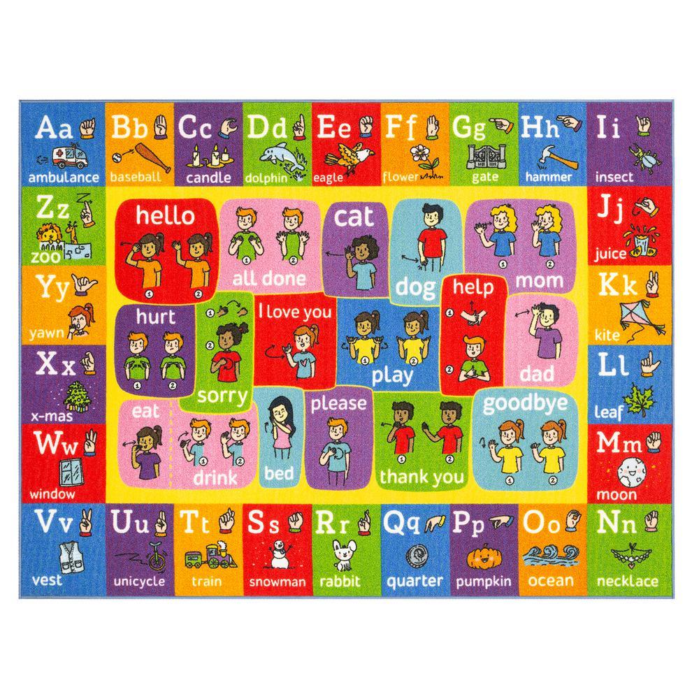Multi-Color Kids Children Bedroom ABC Alphabet ASL Sign Language Educational Learning 8 ft. x 10 ft. Area Rug