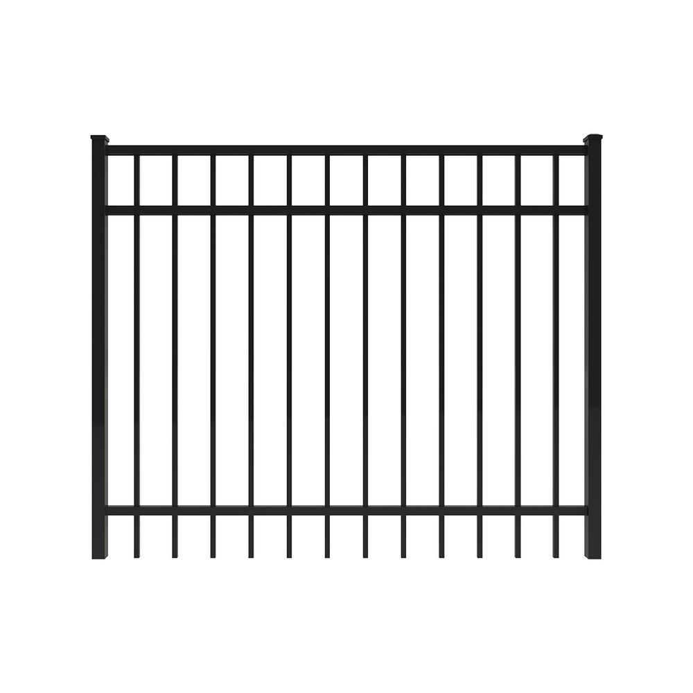 Vinings 5 ft. W x 4 ft. H Black Aluminum Pre-Assembled Fence Gate