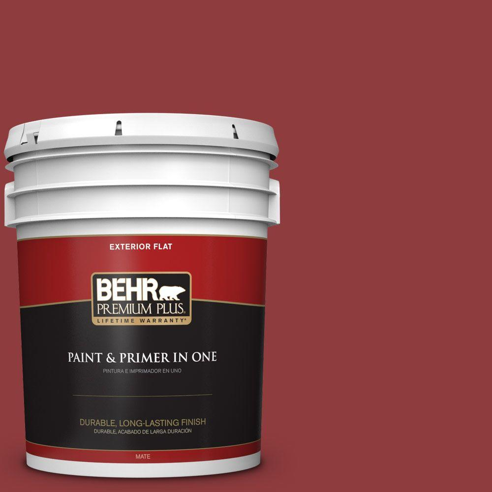 BEHR Premium Plus 5-gal. #160D-7 Cranberry Whip Flat Exterior Paint
