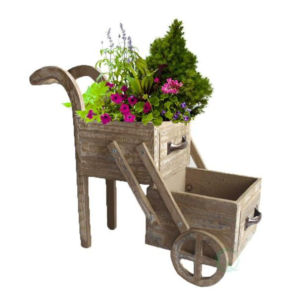 Gardenised 15.9 in. W x 6.5 in. D x 13 in. H Wood Double Tier Planter Cart