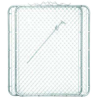 9-1/2 ft. x 6 ft. Metal Steel Drive-Through Chain Link Fence Gate (2-Panels)