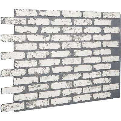 7/8 in. x 46-5/8 in. x 33-3/4 in. White Brick Urethane Old Chicago Brick Wall Panel