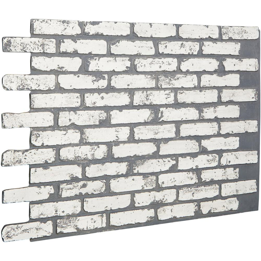 Ekena Millwork 7/8 in. x 46-5/8 in. x 33-3/4 in. White Brick Urethane Old Chicago Brick Wall Panel