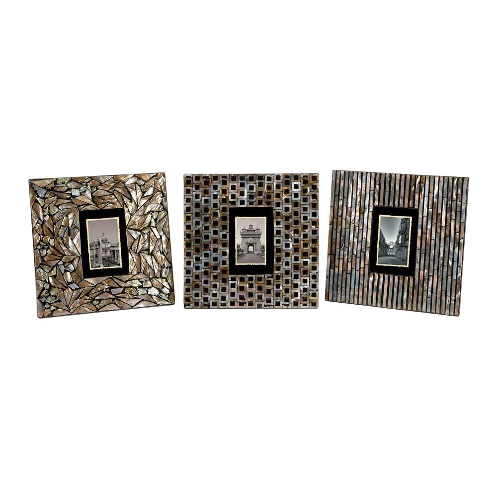 Filament Design Lenor 1-Opening 8 in. x 10 in. Mother of Pearl Picture Frames (Set of 3)