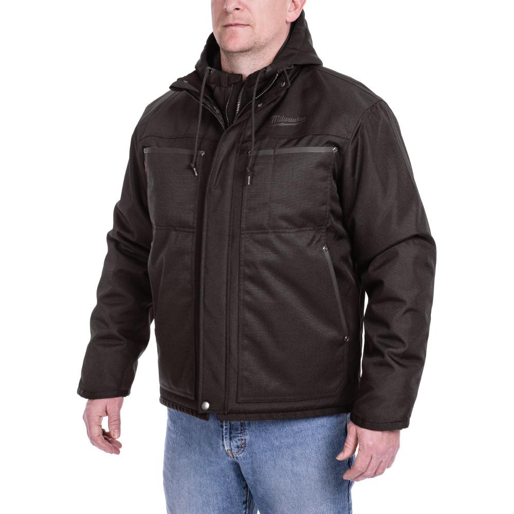 Men's Large M12 12-Volt Lithium-Ion Cordless Black 3-in-1 Heated Jacket