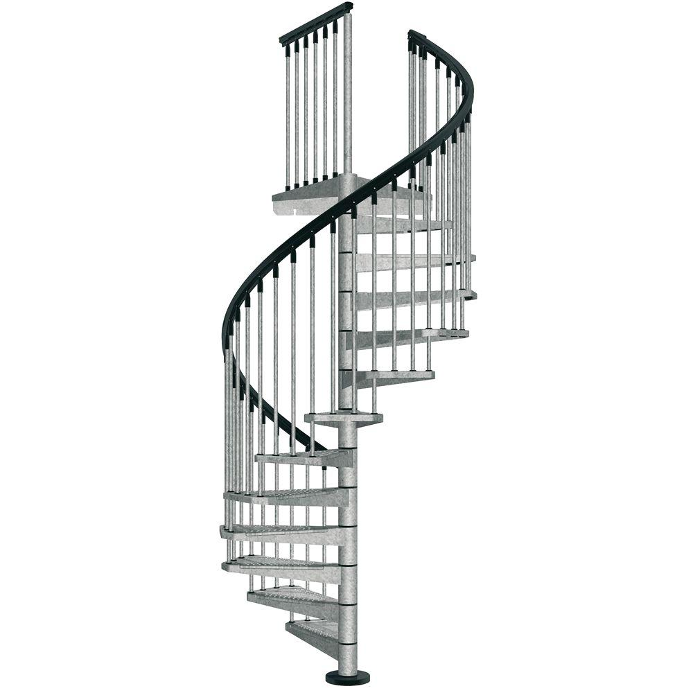 arke enduro 47 in galvanized steel spiral staircase kit k05001 the home depot. Black Bedroom Furniture Sets. Home Design Ideas
