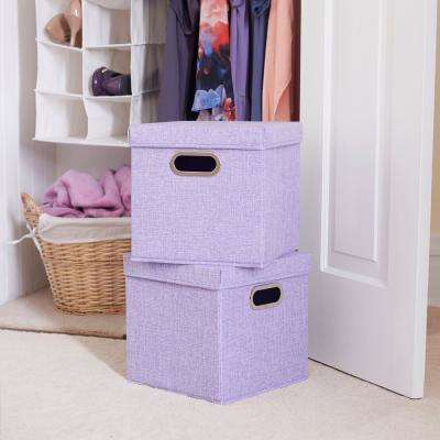 11 in. x 11 in. Iris Heather linen Bin Set (2-Pack)