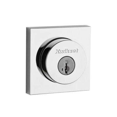 159 Series Square Contemporary Double Cylinder Polished Chrome Deadbolt featuring SmartKey