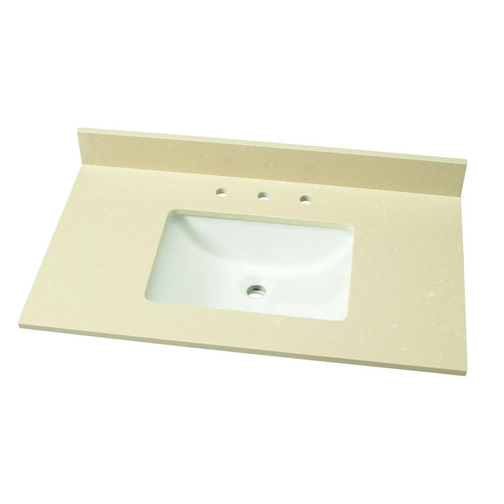 37 in. W Engineered Marble Single Vanity Top in Champagne Dunes
