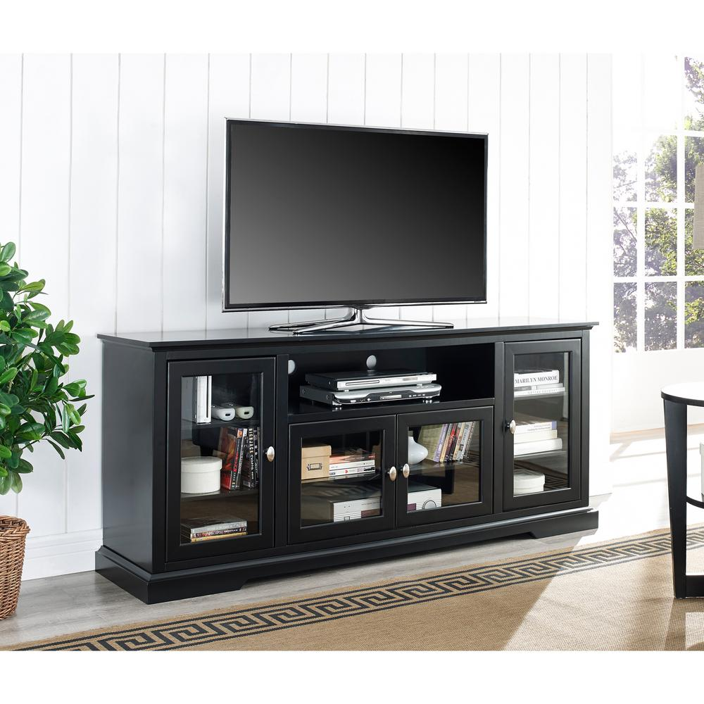 Walker Edison Furniture Company Black Entertainment Center