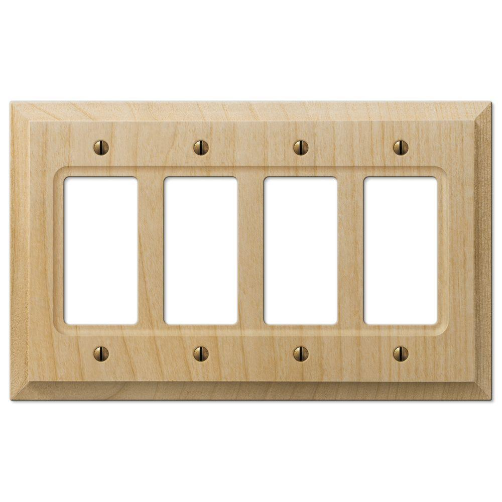 Hampton Bay Baker 4 Decorator Wall Plate Unfinished Wood