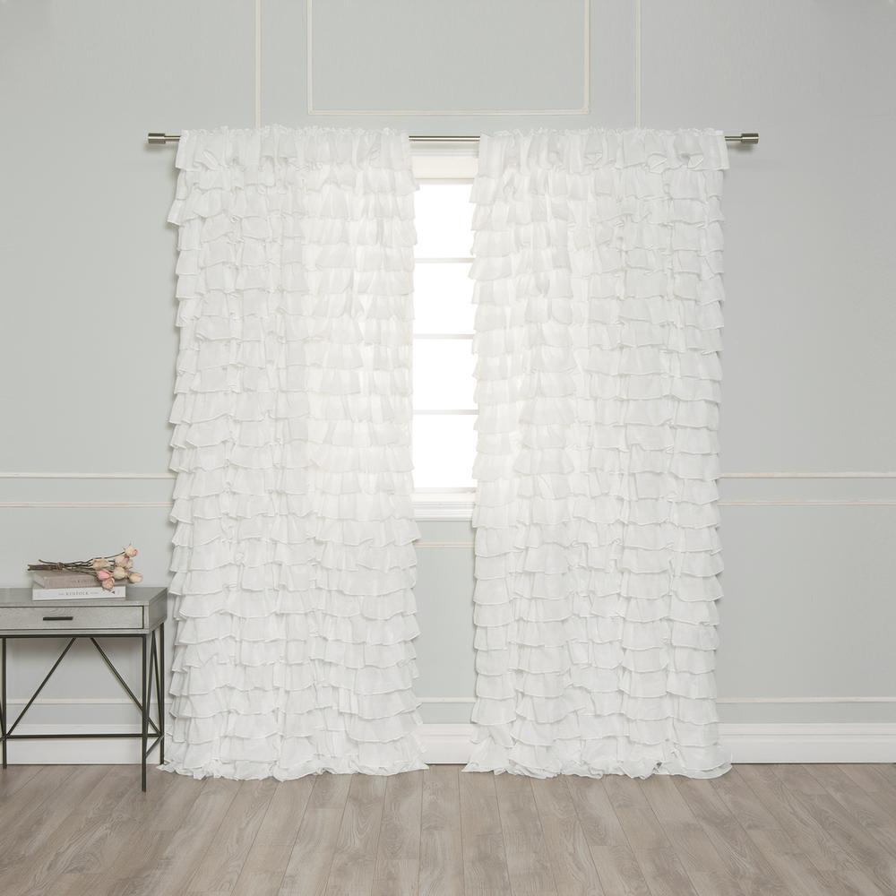 84 in. L Ruffle Cascade Curtains in White