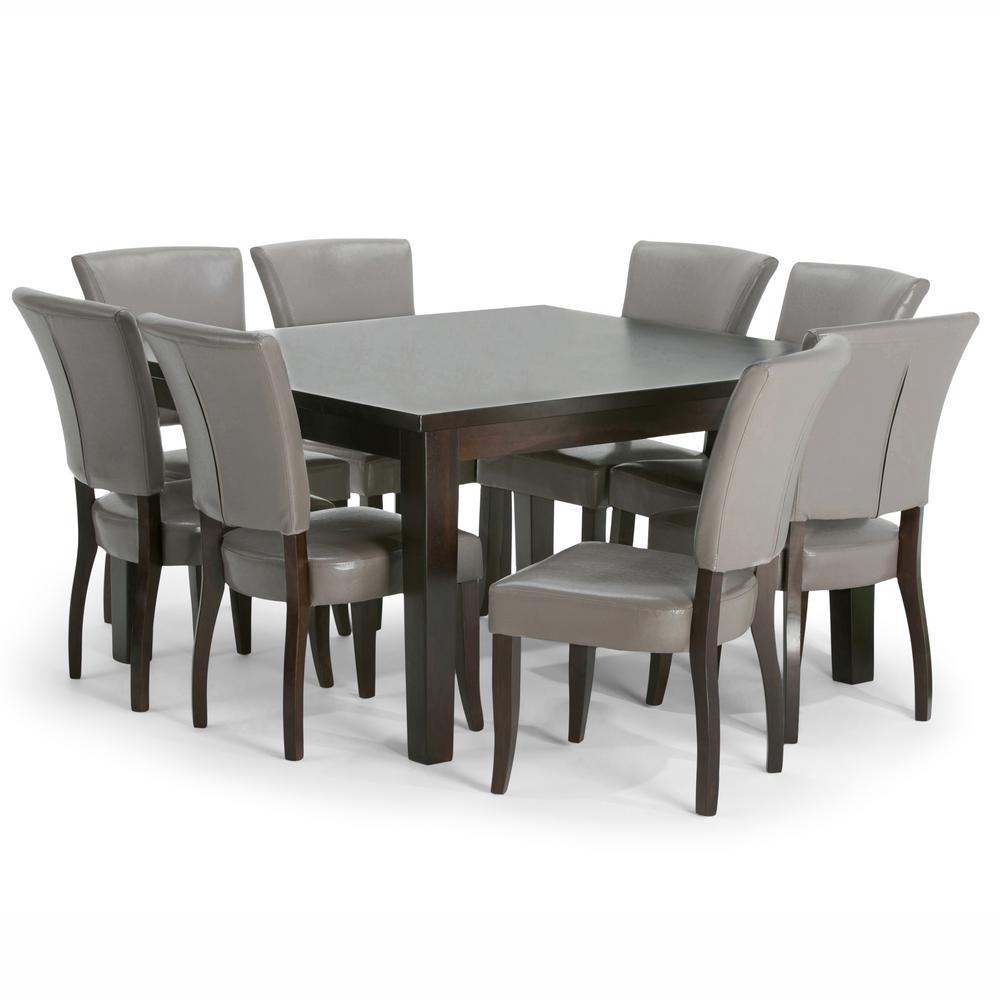 Simpli home joseph 9 piece taupe dining set