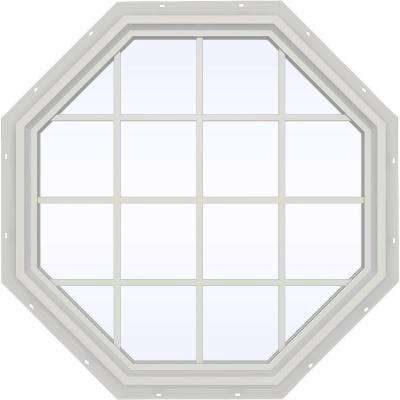 47.5 in. x 47.5 in. V-4500 Series Fixed Octagon Geometric Vinyl Window with Grids in White
