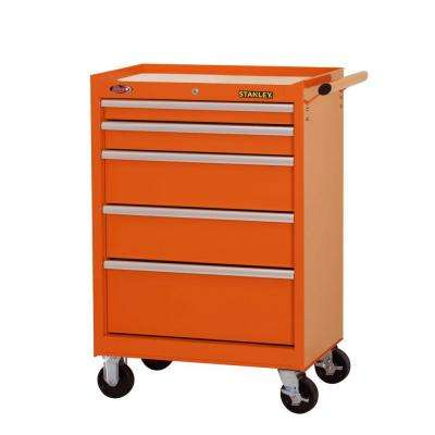 27 in. W 5-Drawer Tool Cabinet, Orange