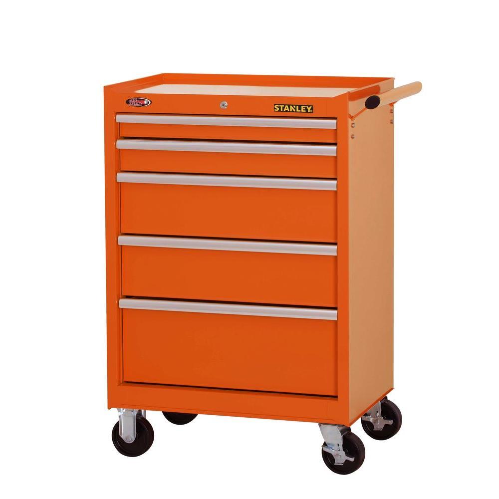 27 in. W 5-Drawer Tool Cabinet, Orange