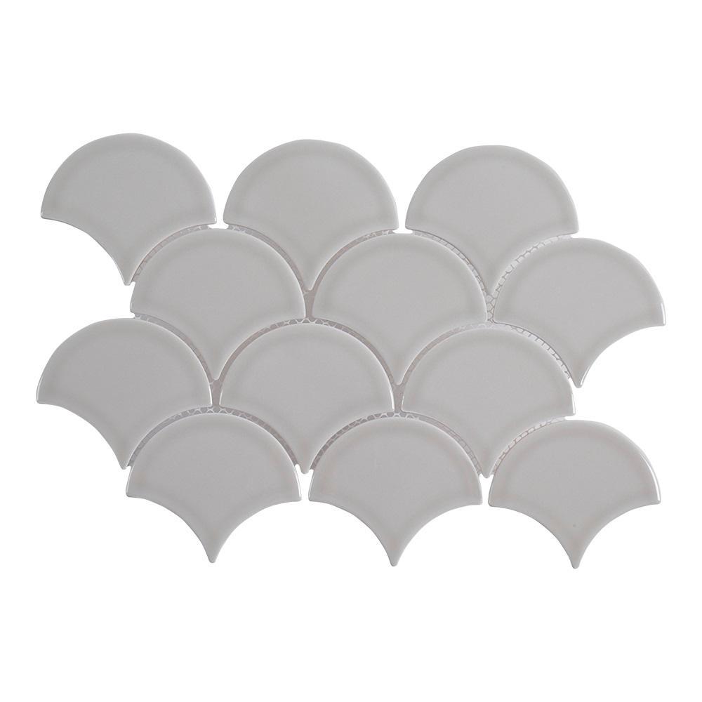 Weather Grey Fan 8.75 in. x 13 in. x 8 mm Ceramic Mosaic Tile