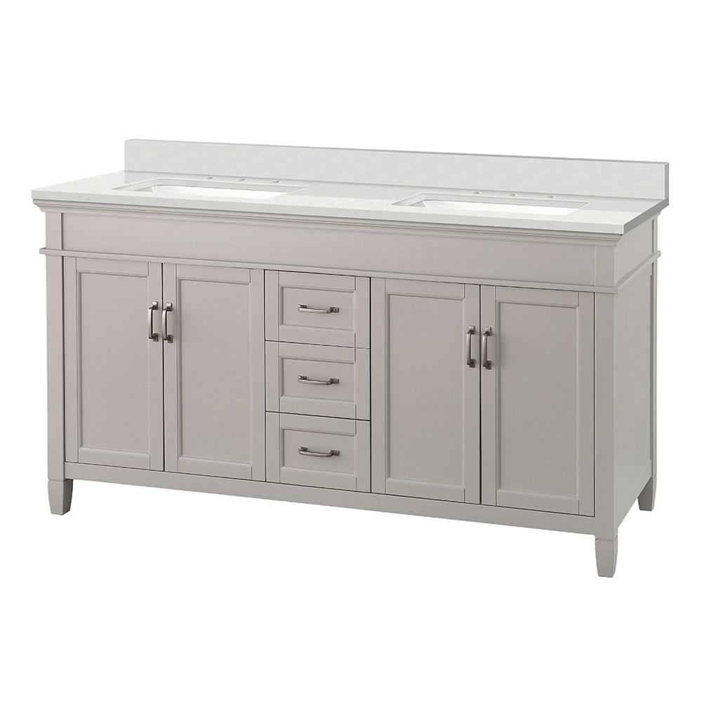 Foremost Ashburn 61 in. W x 22 in. D Vanity Cabinet in Grey with Engineered Marble Vanity Top in Snowstorm with White Basins