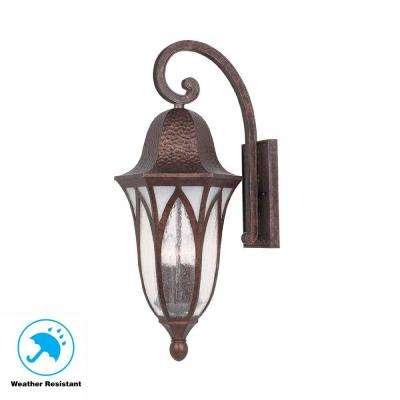 11 in. Burnished Antique Copper Outdoor Wall Sconce with Clear Seedy Glass