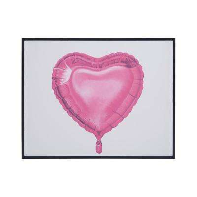 """29 in. x 37 in. """"Balloon Love"""" Hand Painted Framed Canvas Wall Art"""