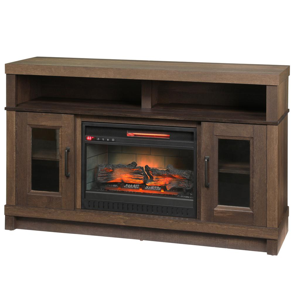 Home decorators collection ashmont 54 in freestanding electric fireplace tv stand in aged oak