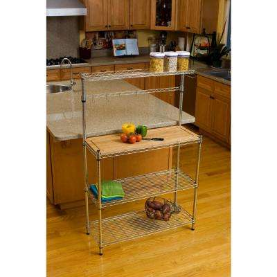 60.5 in. H x 14 in. W x 36 in. D in. 3-Tier Steel Baker's Rack in Chrome