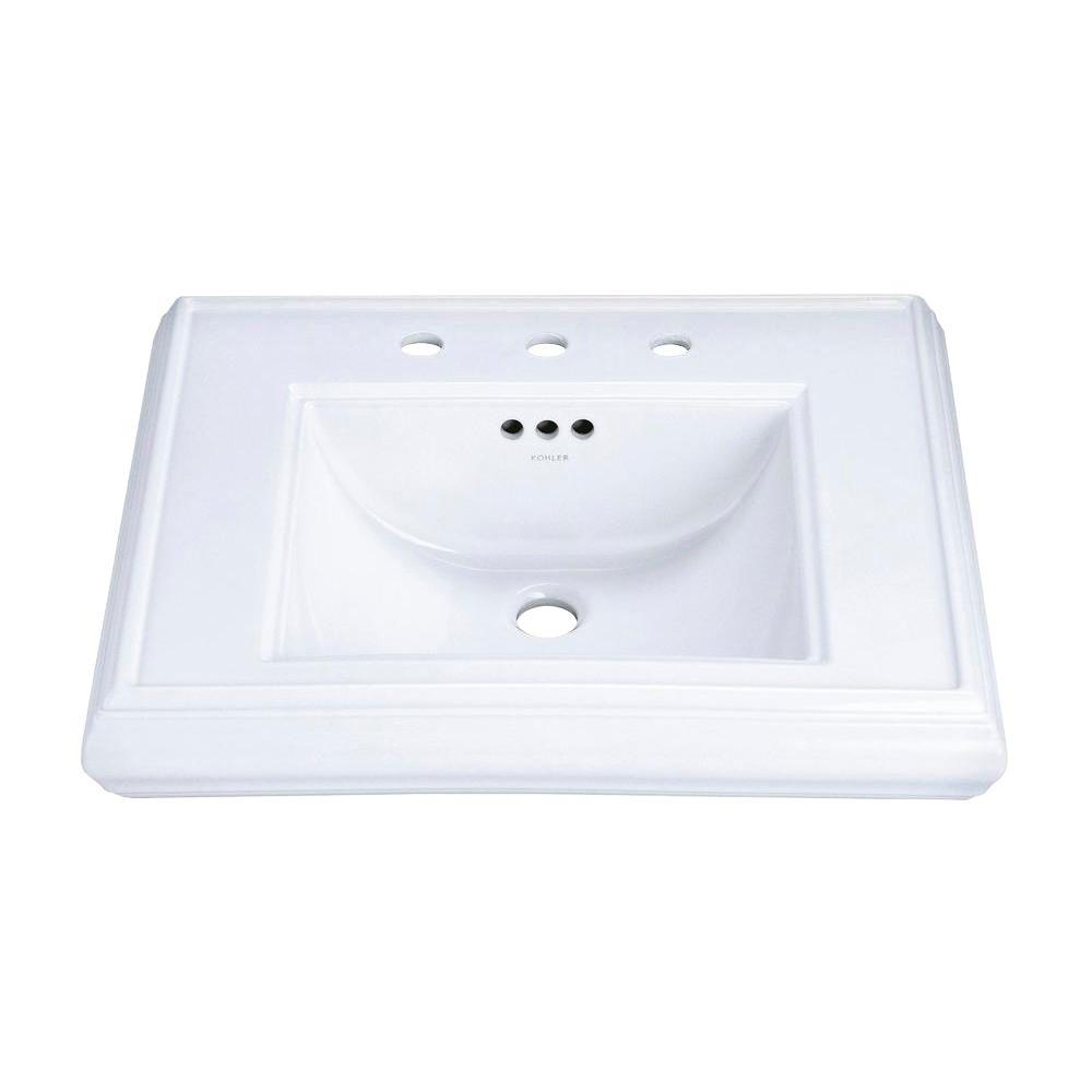 Memoirs 5-3/8 in. Cermaic Pedestal Sink Basin in White with Overflow